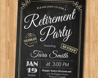 Retirement Invitation. Retirement Party Invitation. Retirement Celebration. Chalkboard Retired. Men or Women. Printable digital DIY.