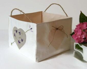 Linen Storage Basket , Large Fabric Storage Bin , Storage Hamper , Heart Design Storage Square Basket