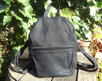 Black canvas small backpack