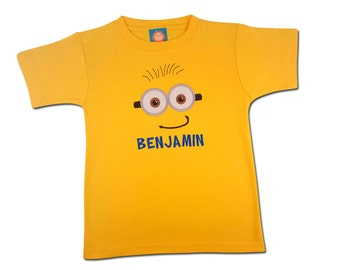Boy's Yellow Friendly Face Shirt with Embroidered Name - #5