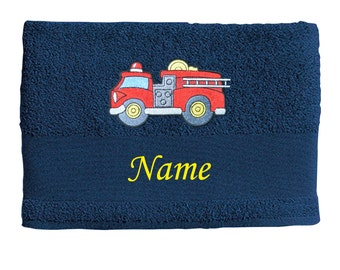 Bath towel embroidered with FIRE TRUCK + own words