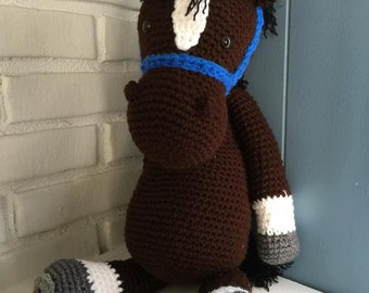 """Beautiful Handmade Crocheted Horse """"Clyde"""" toy"""