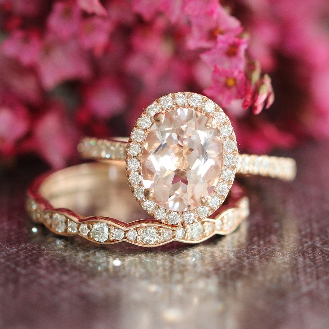 Rose Gold Morganite Wedding Ring Set Halo Diamond Engagement