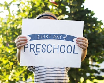 Printable First Day of School Signs / Instant Download / Preschool - Pre-K - 12th Grade / Simple & Modern / Photo Prop / All Grades