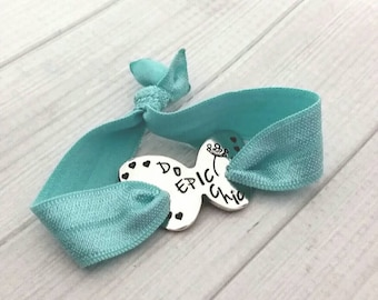 Personalized Butterfly Hair Tie Bracelet - Runners Bracelet - do epic