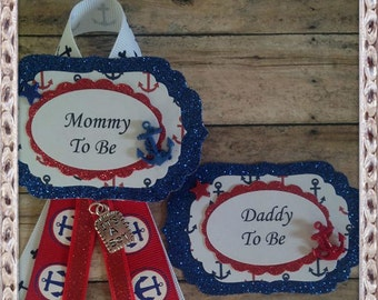 Two Nautical Mommy & Daddy To Be Corsage or Nautical Baby Shower Theme Grandma To Be Corsage Badge Set