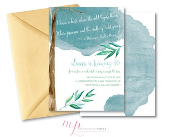 Watercolor Birthday Invitation // 30th // 40th // 50th  //ANY AGE Midsummer Night's Dream // Shakespeare //