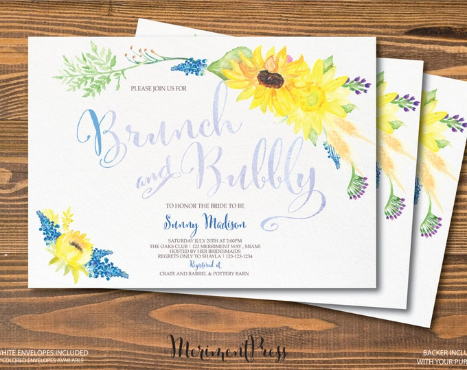Sunflower Brunch and Bubbly Invitation Brunch & Bubbly Sunflowers Watercolor Calligraphy Blue Green Yellow - TUSCANY