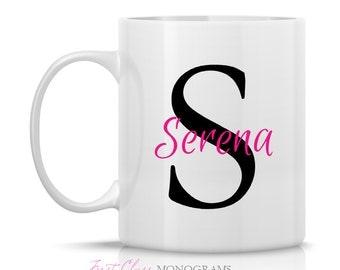 Black and Pink Name and Initial Monogram Coffee Mug, Preppy Coffee Mug, Preppy Gift Ideas, Personalize Coffee Mug  M-104