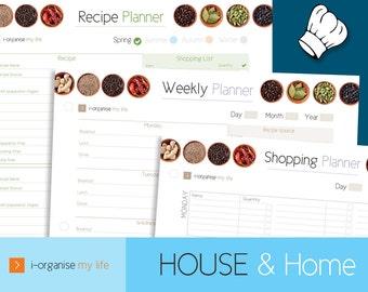 MEAL PLANNER, recipe planner, weekly meal planner, food planners, diet organiser, party planner, menu organiser, food plan, downloadable