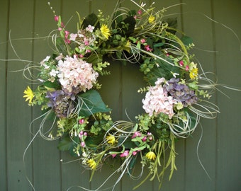 Spring and Summer Wreath with beautiful silk flowers