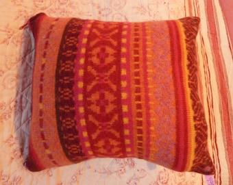 Orange purple pink jacquard cushion