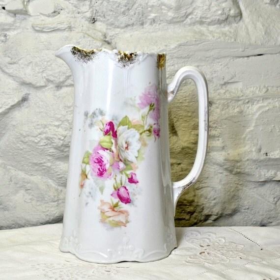 Water Jug Ceramic Pitcher Or Flower Vase Old Jug Pink Roses