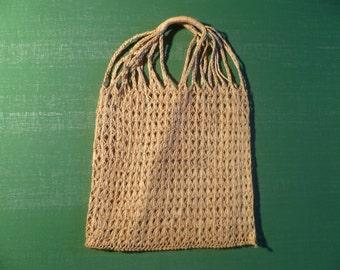 Vintage Woven STRAW Tote Bag Handbag Simple Purse