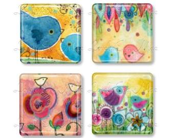 Set of 4, Lauren Alexander, Glass Magnets, Strong Magnets, Fridge Magnets, Bird Magnets, Watercolor, Artwork, Bird Lover, Bird Watcher Gift