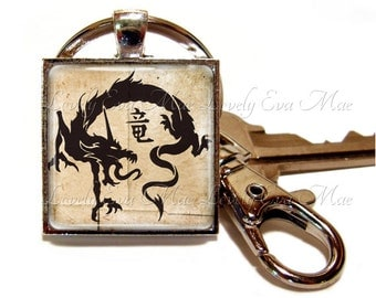 Dragon Keyring, Dragon Keychain with Clip, Key Fob with Clasp, Beige and Black, Keychain, Key Chain, Chinese, Asian, Oriental, Dragon Gift