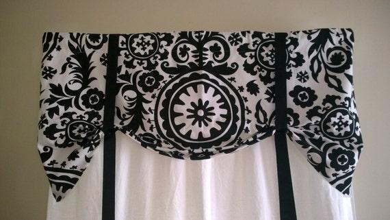 Window Valance Tie Up Valance Suzani Black And White