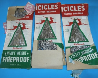 Vintage Christmas National Tinsel ribbon icicles 3 packages aluminum