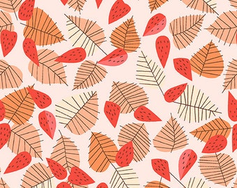 SALE The Lovely Hunt - Leaf in Orange - Lizzy House - Andover (A-5676-O)