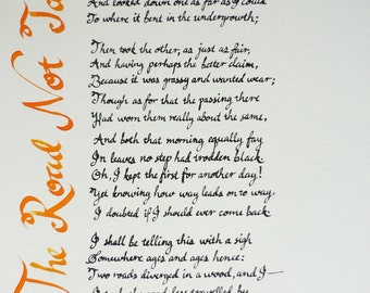 The Road Not Taken, full Robert Frost poem in calligraphy on 10 x 14 paper.