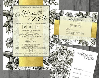 Elegant Black and Gold Invites