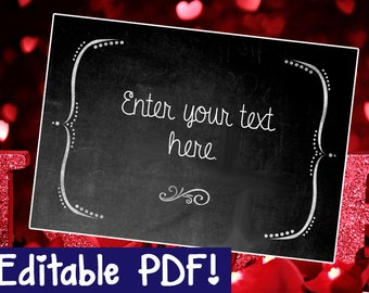 Blank Chalkboard Sign EDITABLE - DIY - PRINTABLE - Instant Download, Print, Party - Paper Props Chalk Board signs - wedding, engagement
