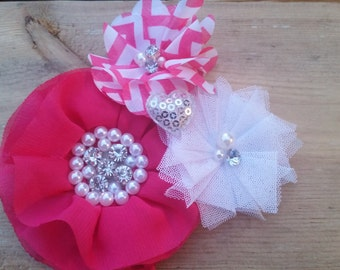Hair Accessory, Girls Accessory, Colorful, Spring Pink Flower, Chevron Flower, Sparkly Jewel, Pink and White, Hair Flowers, Pink Flowers