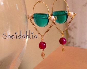 Blue earrings- Dangel teal earrings, Teal, Blue, Green, Multi, Fashion earrings, Czech glass beads, Jade, Crystal, Gift for her