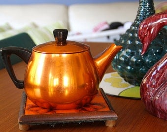 Vintage Anodised Orange Aluminium Teapot