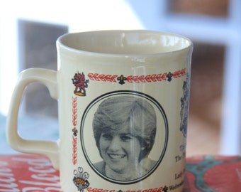 Fantastic Vintage Souvenir Mug of Prince Charles and Lady Diana Commemorative Mug
