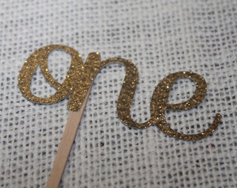 One cupcake topper,gold one cupcake topper, gold cupcake, set of 12