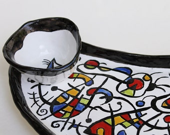 Tapas Sushi Tray with bowl hand painted Miro inspired,Ceramic long Dish handmade,sushi serving set, appetizer tray, serving set, fruit plate