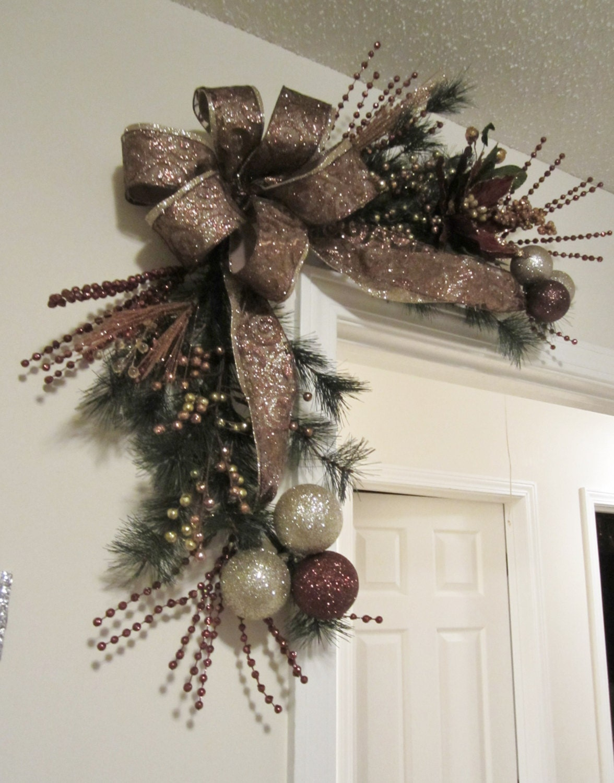 Christmas corner door wreath shipping included garland swag
