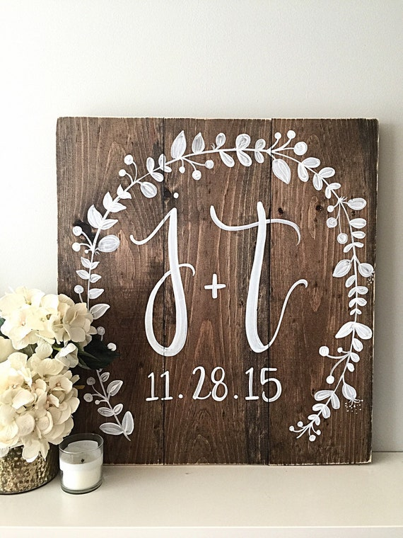 Wedding Decor Monogram Wedding Sign Established Date Home Decor ...