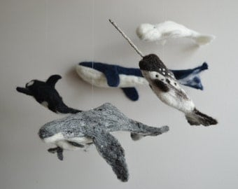 Felted Soft Sculpture Whale Mobile/Wall Hanging