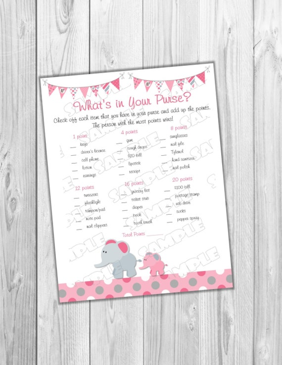 Pink Elephant Nursery Rhyme Game Baby Shower Game Printable INSTANT  DOWNLOAD UPrint By Greenmelonstudios Elephant Baby Shower