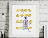 Original Watercolour Bombay Sapphire for Gin and Tonic Lover kitchen Original Art Painting Art, A4 210 × 297 mm Artwork by Frankie&Pearl