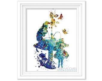 Alice and the Caterpillar Art Print Alice In Wonderland Print Watercolor Illustration Wall Art Home Decor Fine Art Print Gift (No.184)