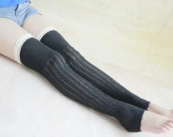 35% off-HANDMADE - Black Boot Socks Tall Boot Socks Leg Warmers Knit Boot Socks Knee Socks Womens Lace Socks Starsocks 1111