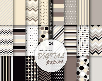 Brown digital papers pack scrapbooking pattern background black beige coffee cream chocolate colors textures classic simple polka dot stripe