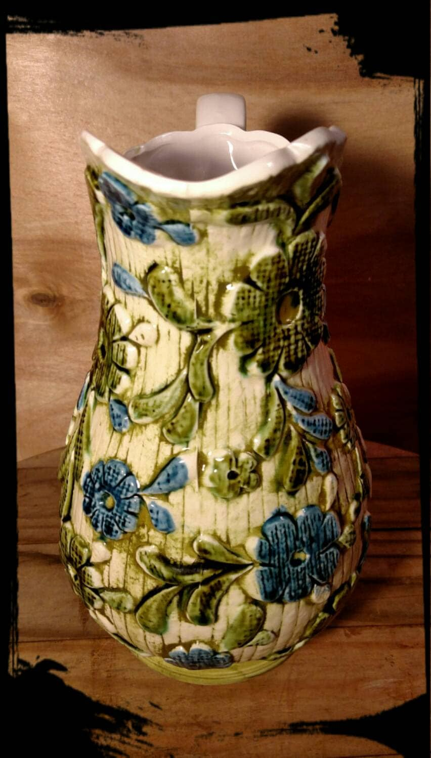 Vintage Inarco Pitcher E3899 Blue And Green Floral