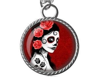 Zombie Necklace, Zombie Girl Art Image Pendant Key Chain Handmade