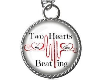 Heart Necklace, Two Hearts Beating As One, Hearts, Lovers Image Pendant Key Chain Handmade