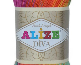 Alize DIVA Batik with Silk Effect - High Quality Microfiber Acrylic Turkish Yarn, Pack of 5 ( Five ) Skeins. Free Shipping