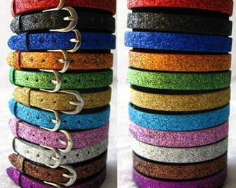 Wholesale 50pcs Adjustable Glitter Strap Blank Faux Leather Bracelet Strap Wristbands,Fit 8mm Slide Charm,DIY Bracelet Accessory