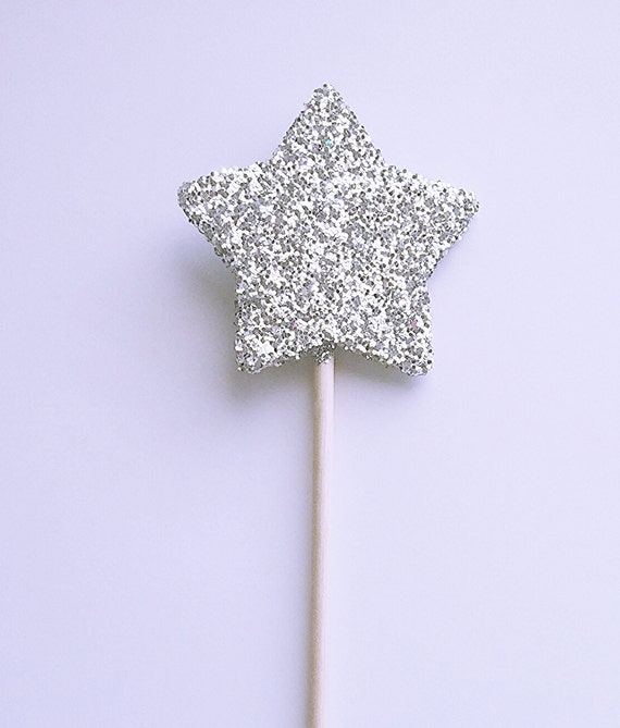 Star fairy wand silver glitter wooden wand fairy party for Glitter wand
