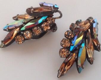 Vintage Sherman Japanned Shades of Topaz Navette Rhinestone Earrings