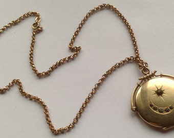 Gold Filled Victorian Crescent Moon and Star Locket & Chain