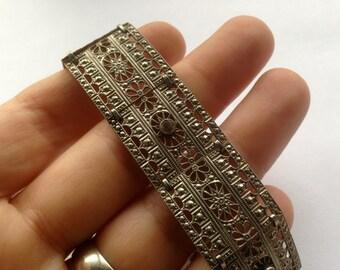Antique Early Birks Silver Filigree & Crystal Bracelet