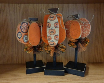 Fall decor-Pumpkin Decor-Halloween Decor-Pumpkins on stands-Set of 3